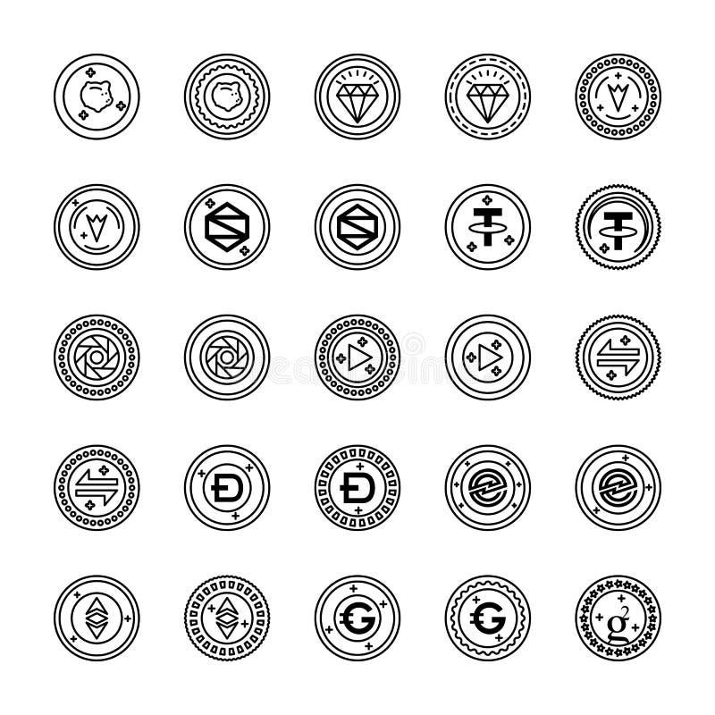 Bitcoin i Cryptocurrency ikon paczka obrazy royalty free
