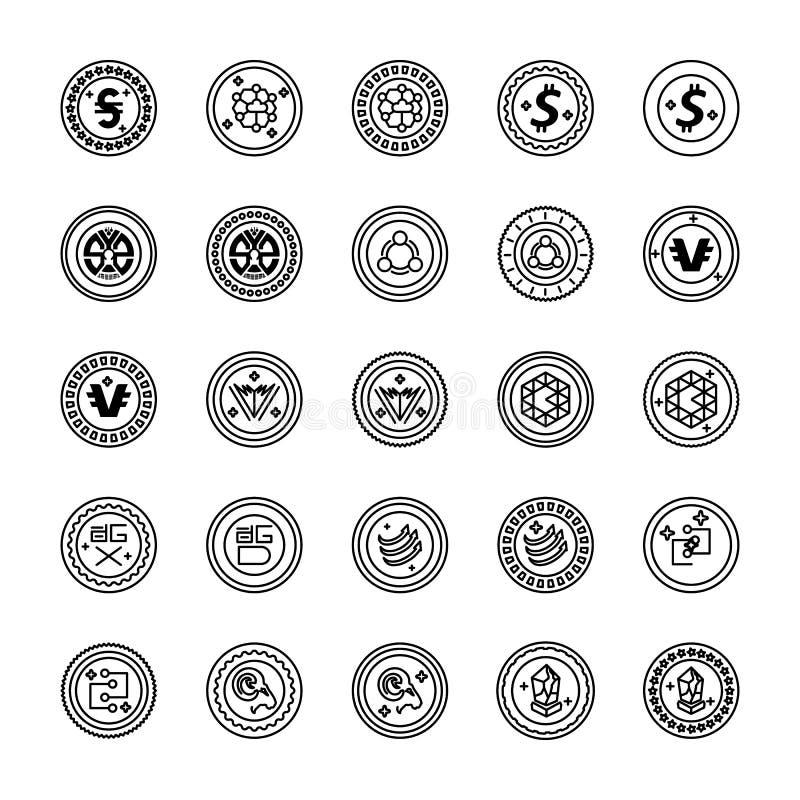 Bitcoin i Cryptocurrency linii ikony Inkasowe zdjęcia royalty free