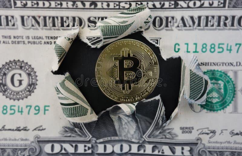 Bitcoin i dolar fotografia stock