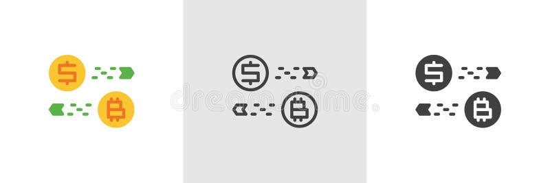 Bitcoin i dolarowej wymiany ikona ilustracji