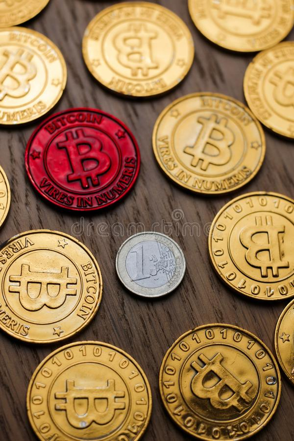 Bitcoin i euro moneta fotografia stock