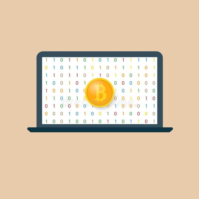 Bitcoin i laptop zarabia crypto waluty royalty ilustracja