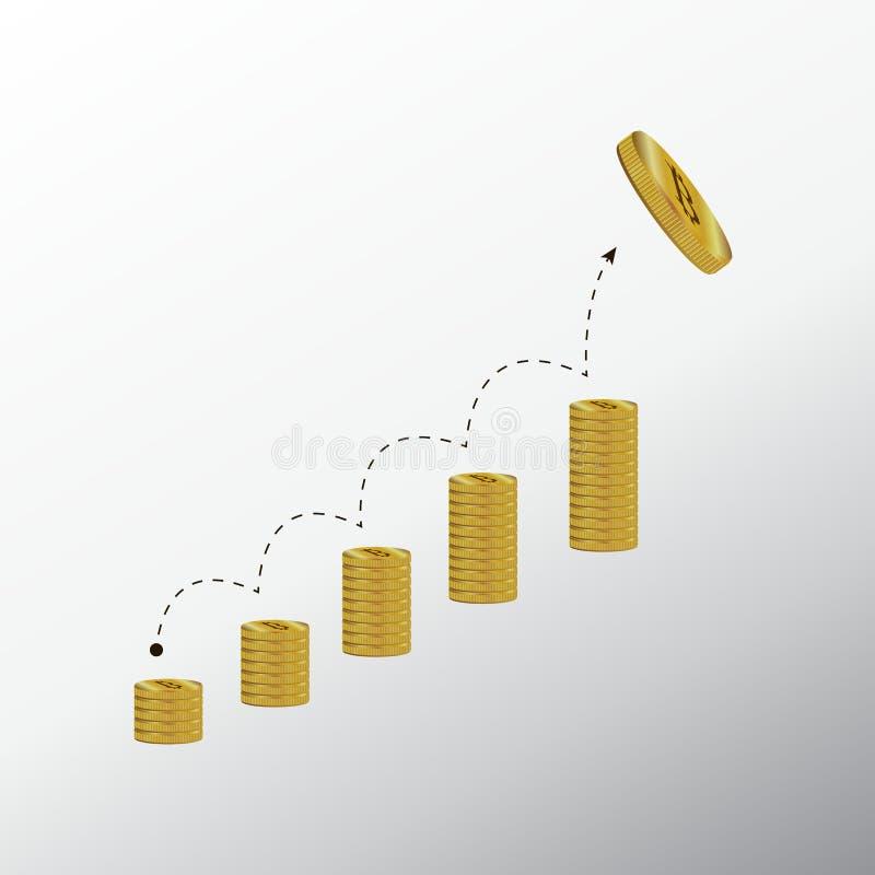 Bitcoin i Nowy wirtualny pieniądze pojęcie Złocista moneta z listowym b royalty ilustracja