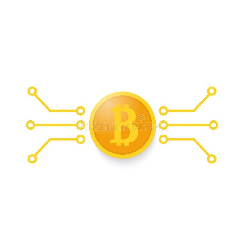 Bitcoin i płyta główna kontakty na białym tle ilustracja wektor