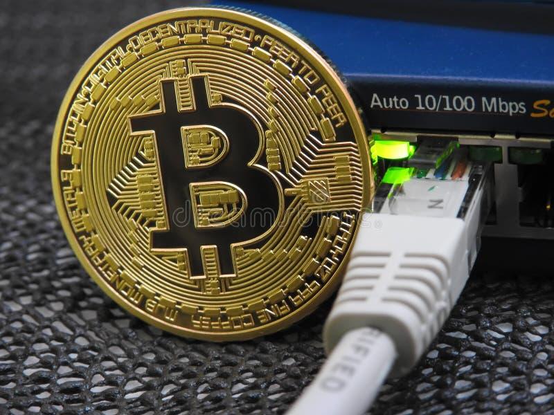 Bitcoin i sieć obraz stock