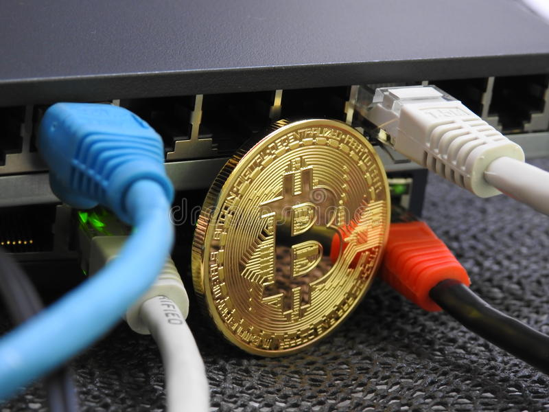 Bitcoin i sieć zdjęcia royalty free