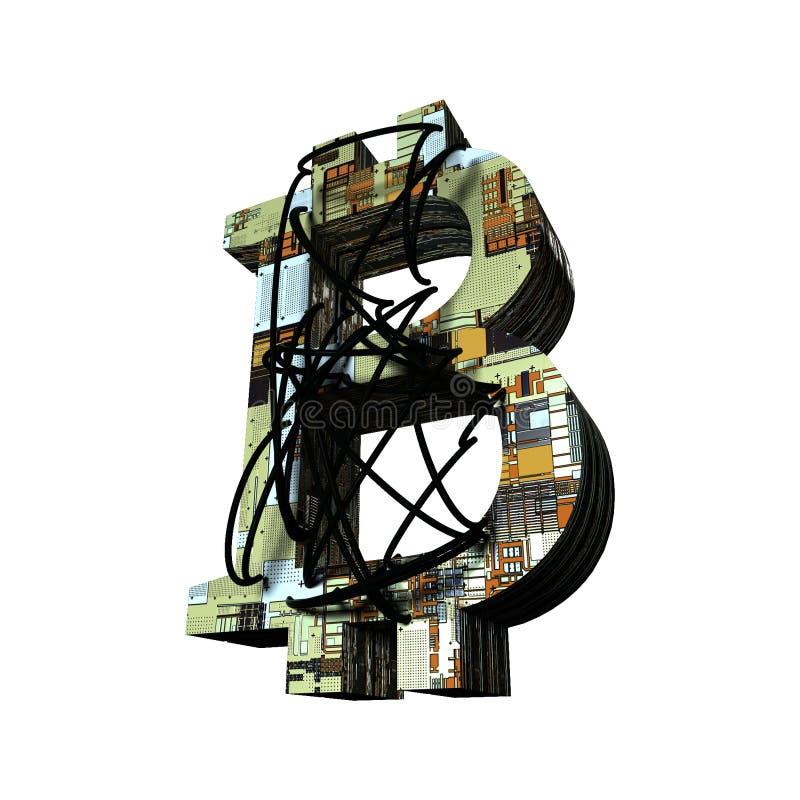 bitcoin i trådar på en vit modell för bakgrund 3d med brädetextur royaltyfri illustrationer