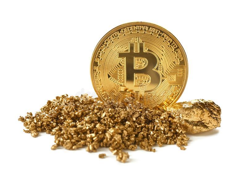 Bitcoin i złociste bryłki na białym tle zdjęcie stock