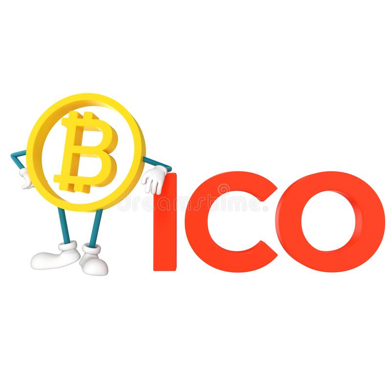 Bitcoin ICO. Initial coin offering. 3D rendering royalty free illustration