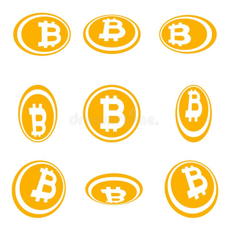 Crypto currency Bitcoin symbol in the circle flat design perspective version set vector illustration isolated on white background royalty free illustration