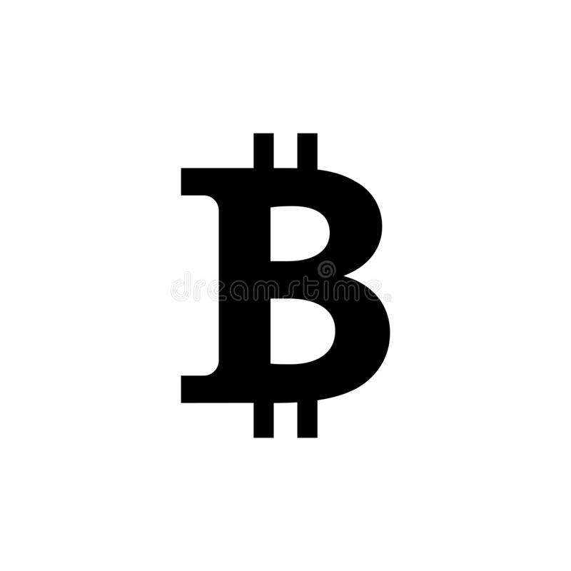 Bitcoin icon, vector sign, payment symbol, coin logo. Crypto currency, virtual electronic, internet money. black emblem isolated stock illustration