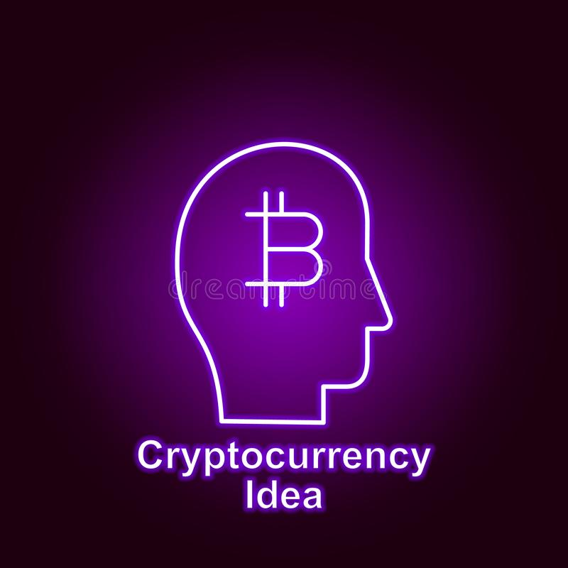 Bitcoin idea outline icon in neon style. Element of cryptocurrency illustration icons. Signs and symbols can be used for web, logo. Mobile app, UI, UX on black royalty free illustration