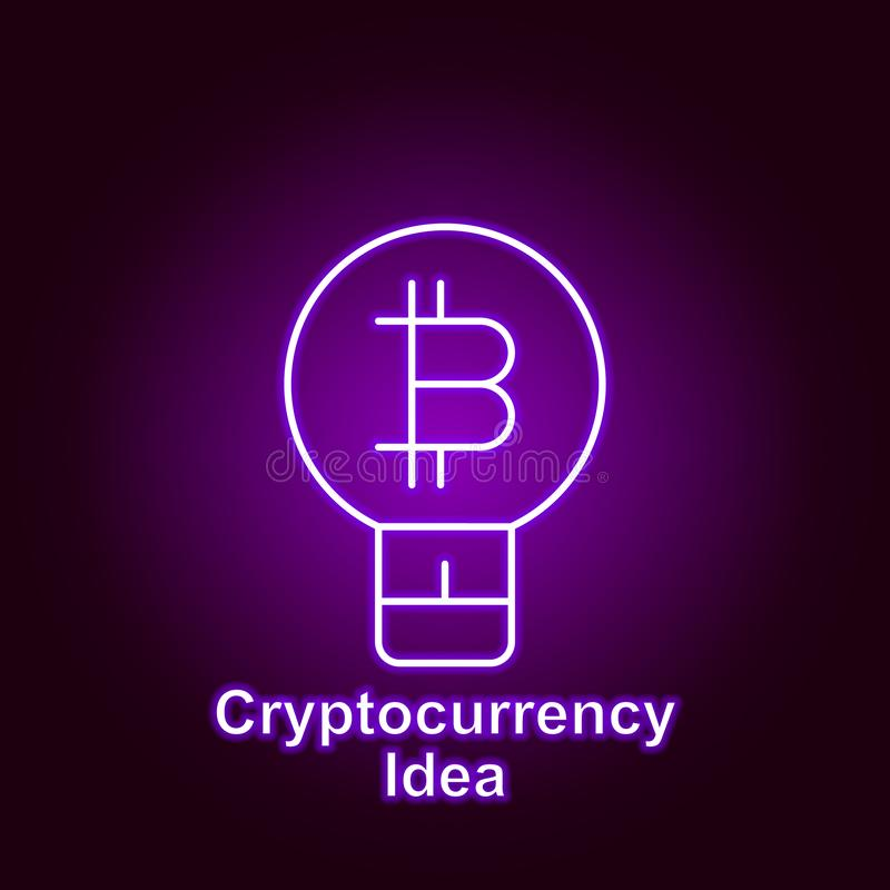 Bitcoin idea outline icon in neon style. Element of cryptocurrency illustration icons. Signs and symbols can be used for web, logo. Mobile app, UI, UX on black vector illustration