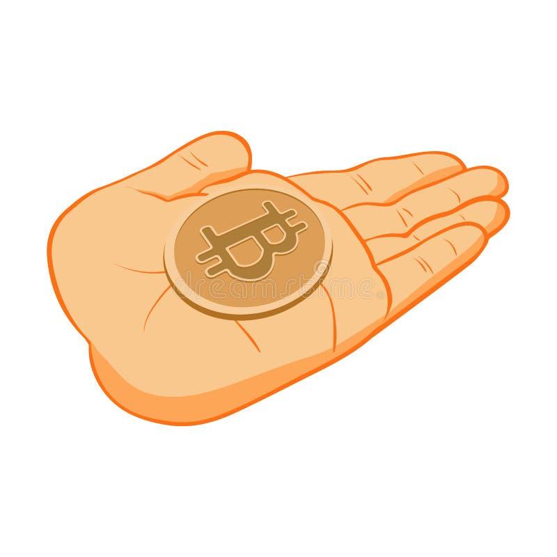 Bitcoin-Ikone auf Palmenperson stockbilder