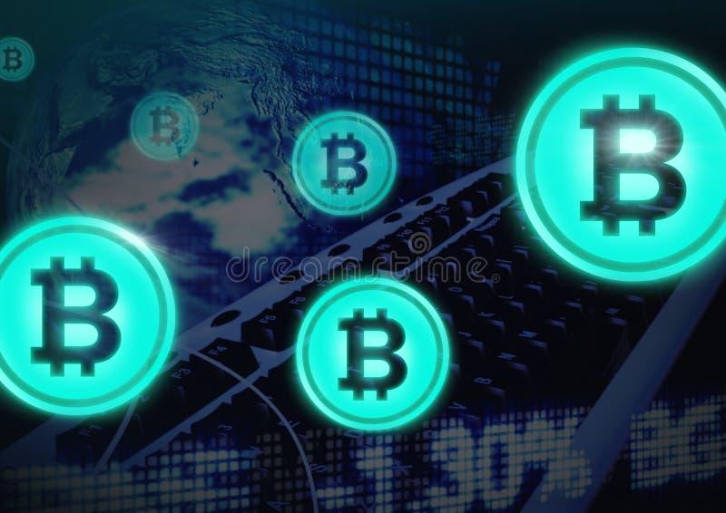 Bitcoin-Ikonen mit Übergang lizenzfreie abbildung