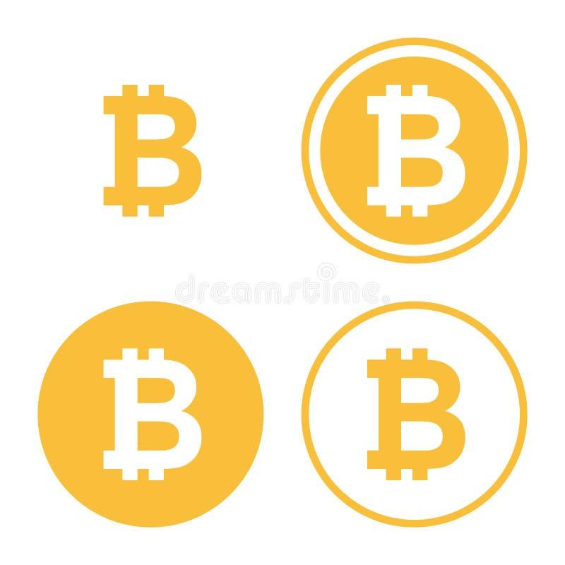 Bitcoin ikony set royalty ilustracja