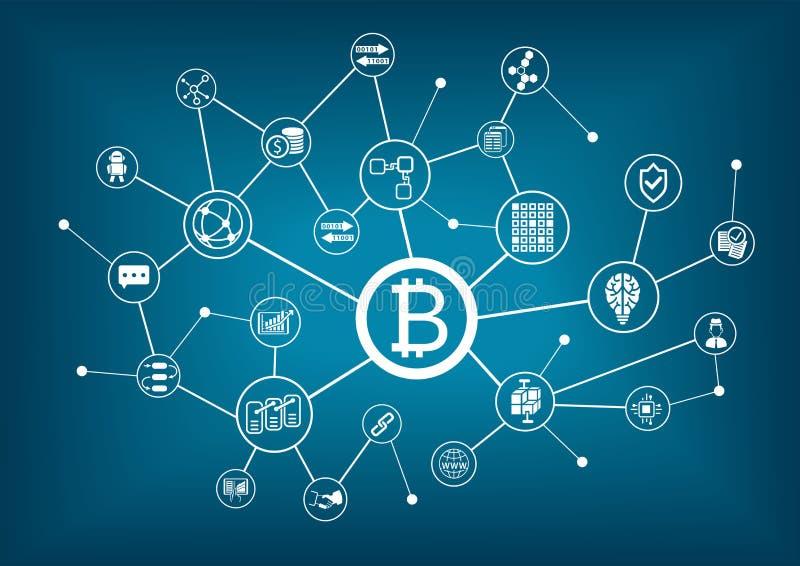 Bitcoin illustration med mörker - blå bakgrund vektor illustrationer