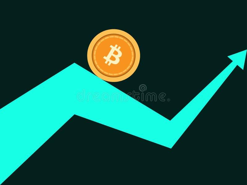 Bitcoin indexvärdering Trend upp pil Cryptocurrency blockchain Myntbitcoin rullar längs pilvektorn royaltyfri illustrationer