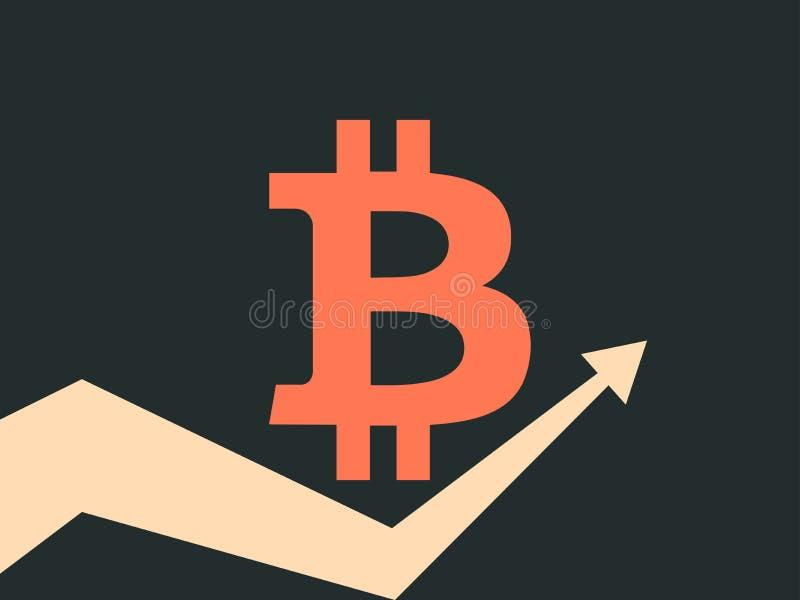 Bitcoin indexvärdering Trend upp pil Cryptocurrency blockchain Symbolbitcoin på en svart bakgrund vektor stock illustrationer