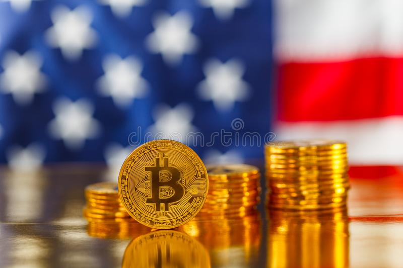BItcoin infront of USA flag royalty free stock photography
