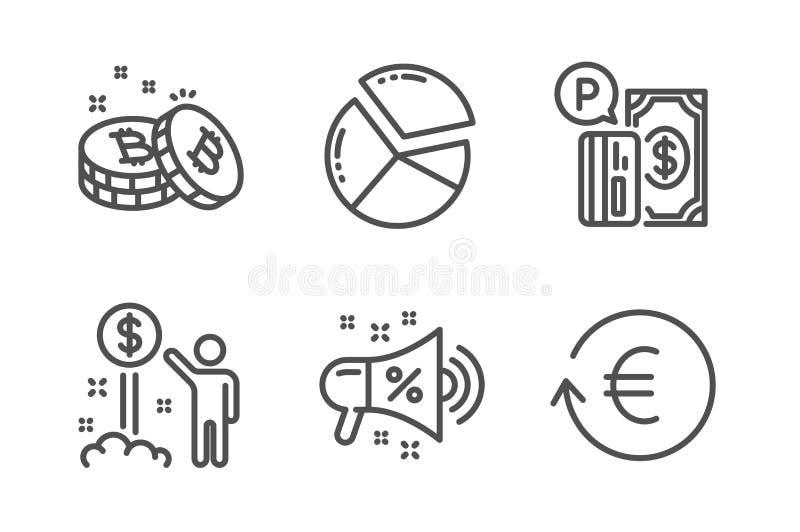 Bitcoin, inkomstpengar och uppsättning för Sale megafonsymboler Pajdiagram och att parkera betalning- och utbytesvalutatecken vek vektor illustrationer
