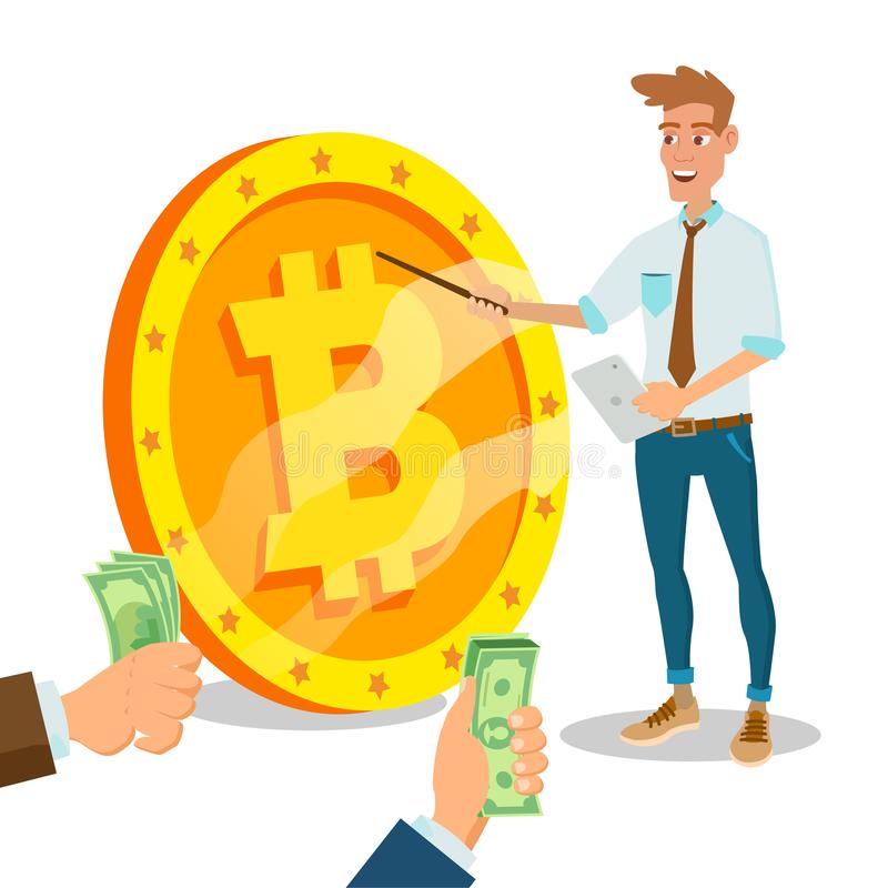 Bitcoin innovateur commencent le vecteur Concept d'idée de projet de monétisation Signe de With Big Bitcoin d'homme d'affaires d' illustration de vecteur