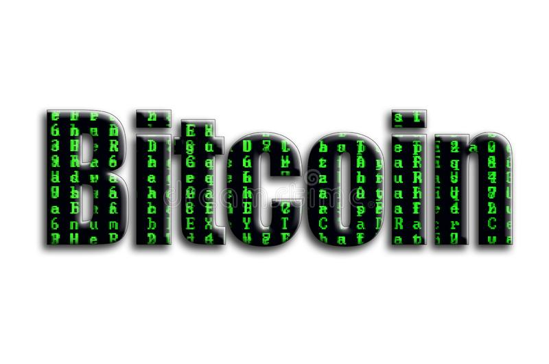 Bitcoin. The inscription has a texture of the photography, which depicts the green glitch symbols stock photography