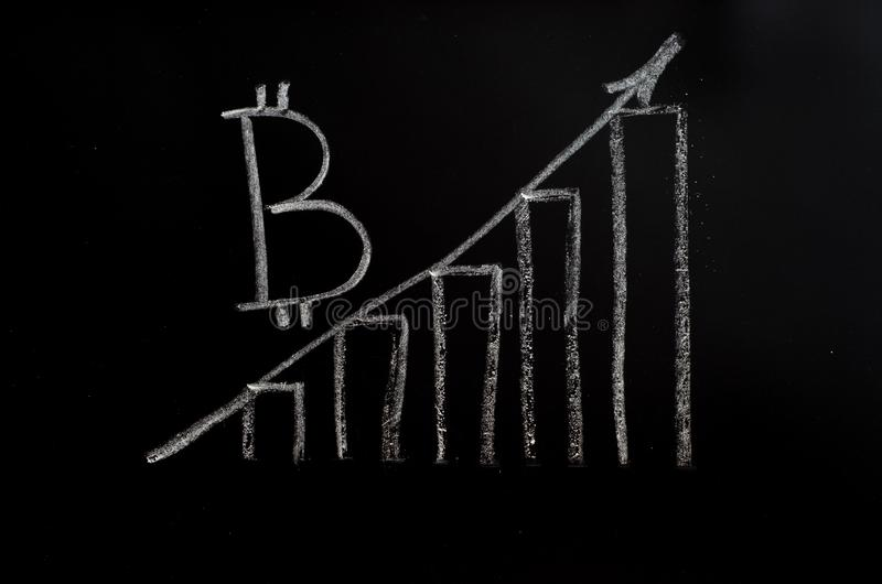 Bitcoin inscription with white chalk on a black board stock photography
