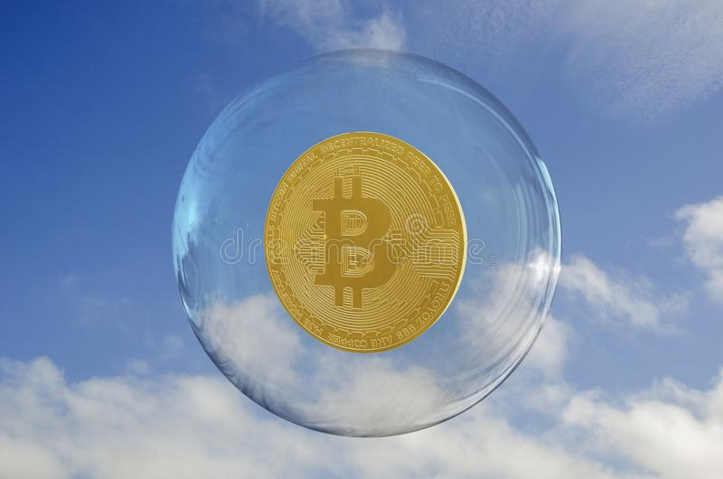 Bitcoin inside a bubble and a sky clouds background. Rise and fragility concept royalty free illustration