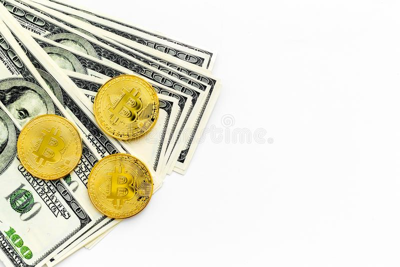 Bitcoin with international currency banknotes on white background top view space for text royalty free stock photos