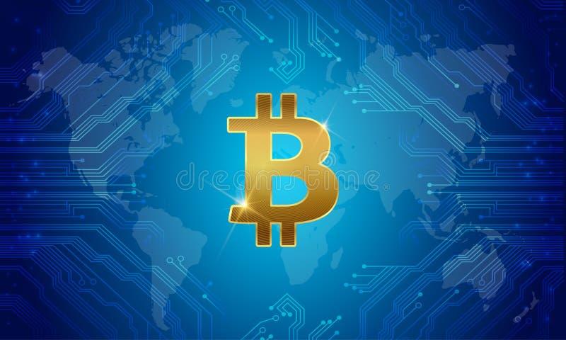 Bitcoin internationalpengar vektor vektor illustrationer