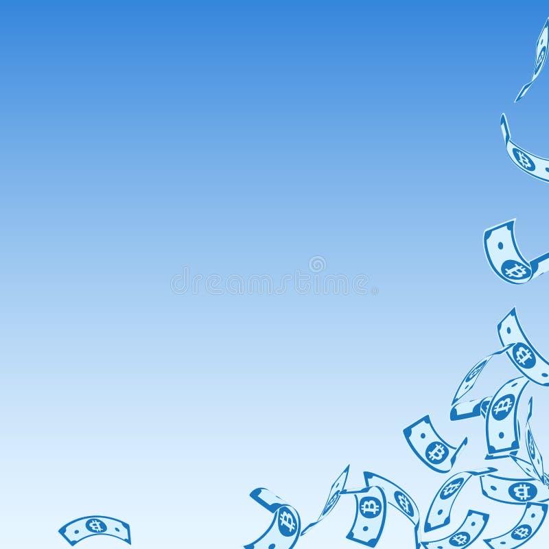 Bitcoin, Internet-Banknotefallen schwimmen vektor abbildung