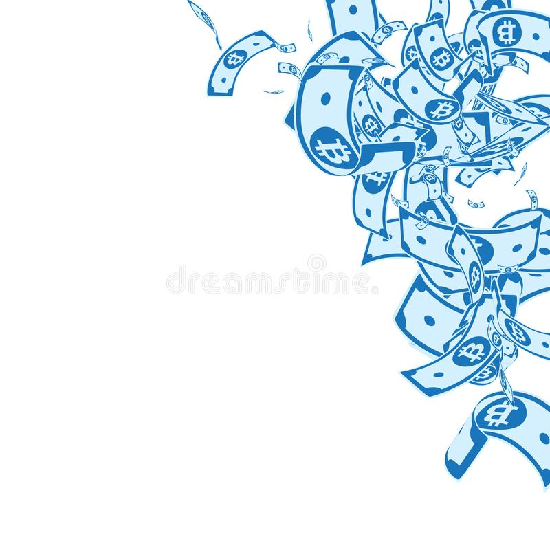 Bitcoin, internet currency notes falling. Messy BT. C bills on white background. Cryptocurrency, digital money. Alive vector illustration. Outstanding jackpot stock illustration
