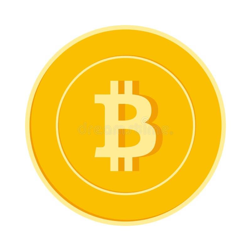 Bitcoin, Internet-muntmuntstuk op witte achtergrond wordt geïsoleerd die Het gele gouden muntstuk van BTC Cryptocurrency, digitaa royalty-vrije illustratie