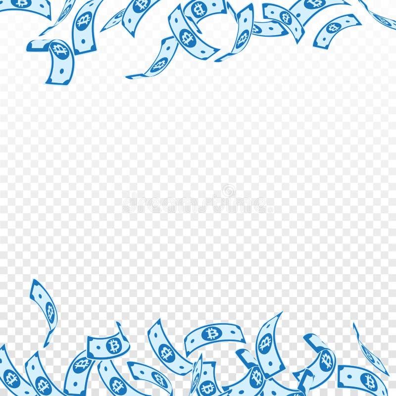 Bitcoin, Internet-muntnota's het vallen floating royalty-vrije illustratie