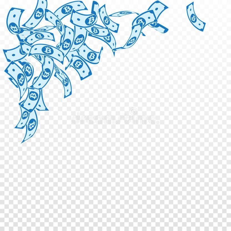 Bitcoin, Internet-muntnota's het vallen floating vector illustratie
