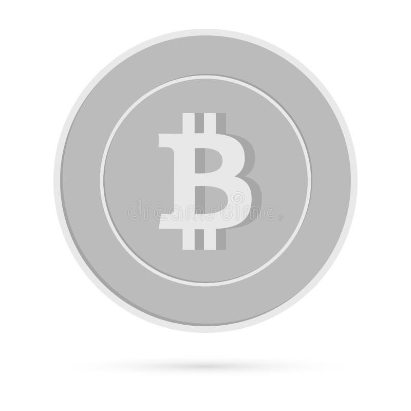 Bitcoin, Internet-Währungsmünze lokalisiert auf Weiß lizenzfreie abbildung