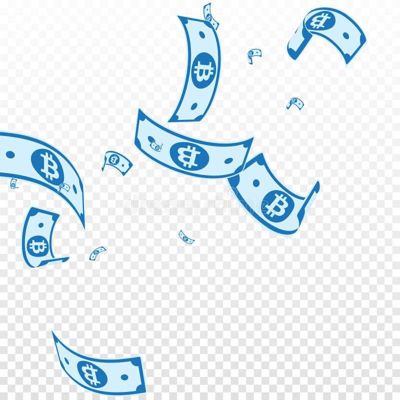 Bitcoin, internet waluty notatek spadać Przypadkowy b royalty ilustracja