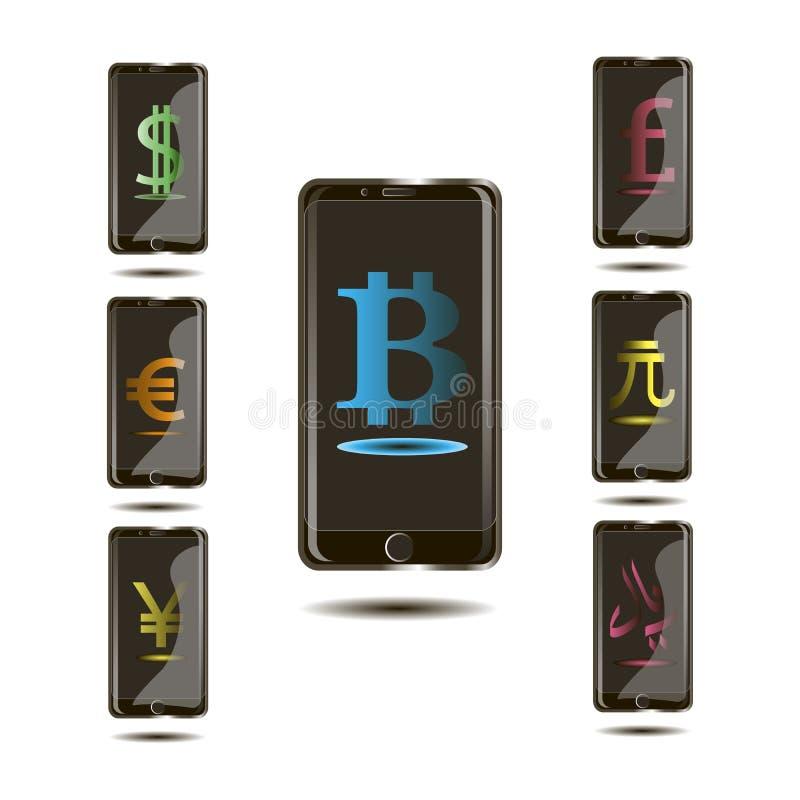 Bitcoin internetvaluta, monetära enheter i telefonen i 3den planlägger vektor illustrationer