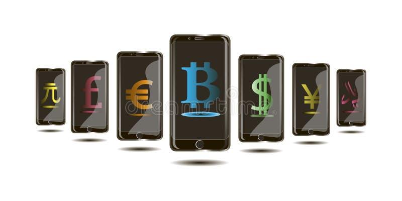 Bitcoin internetvaluta, monetära enheter i telefonen i 3den planlägger stock illustrationer