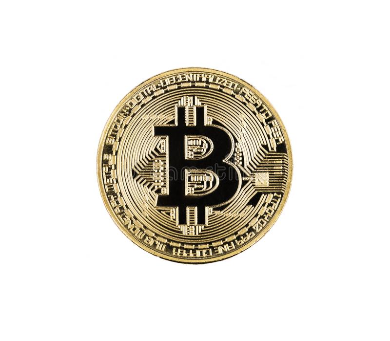bitcoin isolerad white arkivbild