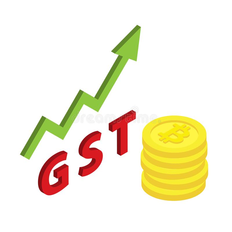 Bitcoin isometric symbol with increasing of goods and service tax GST royalty free illustration