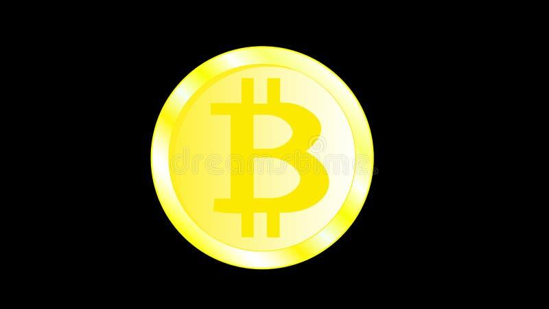 Bitcoin jaune miroitant lumineux de pièce de monnaie en métal d'or beau avec les bords volumétriques Face d'un bitcoat de pièce d illustration de vecteur