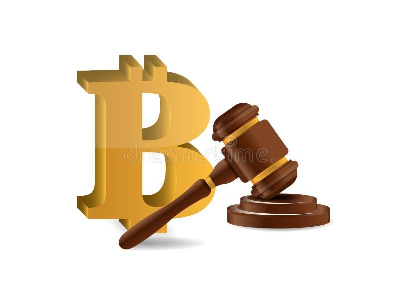 Bitcoin and judge hammer stock illustration
