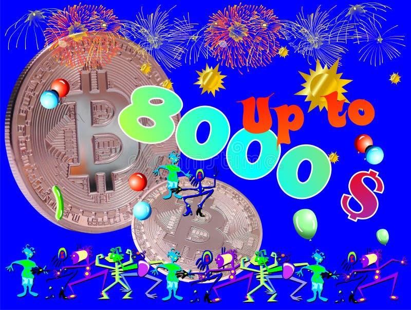 Bitcoin jusqu'à 8000 dollars illustration de vecteur