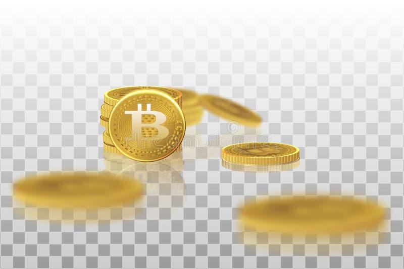 Bitcoin Körperliche Stückchenmünze Eine digitale Währung Das cryptocurrency Goldmünze mit dem bitcoin Symbol lokalisiert auf a stock abbildung