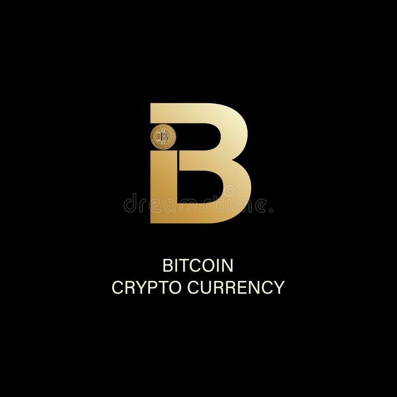 Bitcoin Kapitałowego listu b i symbol fizyczna moneta ilustracji