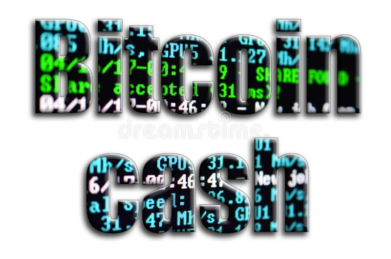 Bitcoin kassa Inskriften har en textur av fotografiet, som visar cryptocurrencyen som bryter programvaruskärmen royaltyfria bilder