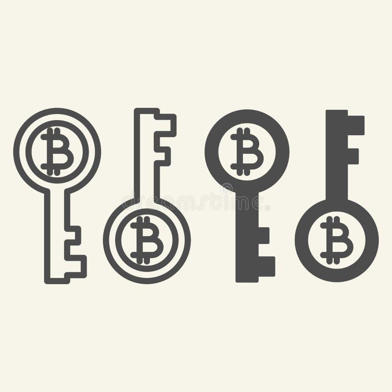 Bitcoin klucza linia i glif ikona Bitcoin ochrony wektorowa ilustracja odizolowywająca na bielu Cryptocurrency elektroniczny kluc royalty ilustracja