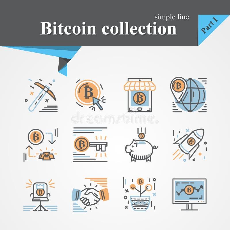 Bitcoin kontur i płaski modny ikona set ilustracja wektor